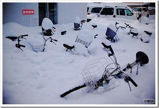 雪に埋もれた自転車たち