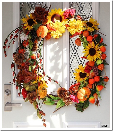 玄関フラワーリース2010秋バージョン