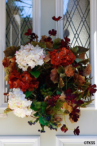 秋の玄関フラワーリース