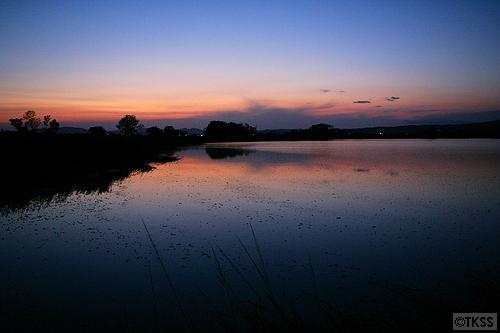 宮島沼の夕暮れ