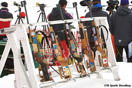 バイアスロンの競技銃 宮様スキーバイアスロン競技会場にて