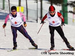 女子パシュート2位:小林美貴(日本大学保健体育審議会)、3位:丸山未紀(早稲田大学スキー部)