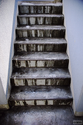 凍った非常階段