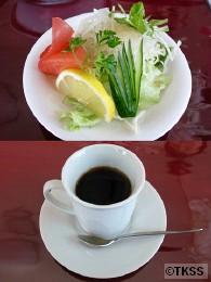 ボルシチセットのサラダとコーヒー カチューシャ
