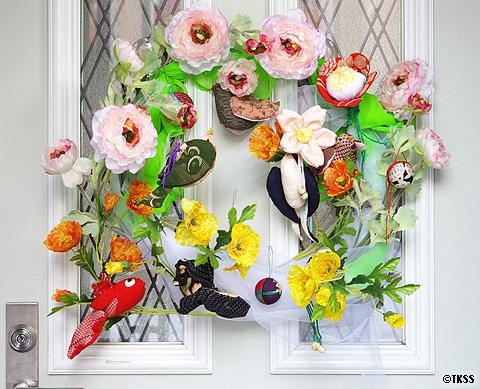 玄関フラワーリース 雛祭りバージョン